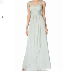 Adrianna Papell Beaded Shoulder Chiffon Gown